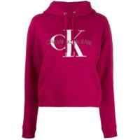 Calvin Klein Jeans Moletom Com Estampa De Logo E Capuz - Vermelho