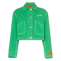 Heron Preston Ctnmb Embroidered Cropped Denim Jacket - Green