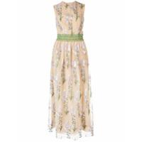 Costarellos Floral Embroidered Maxi Dress - Neutro