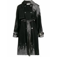 Matthew Adams Dolan Trench Coat Com Efeito Manchado Com Cinto - Preto