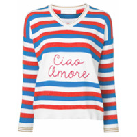 Giada Benincasa Ciao Amore V-Neck Striped Sweater - Branco