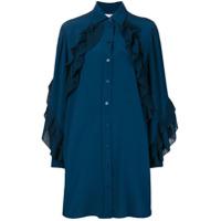 Givenchy Chemise De Seda Com Babado - Azul