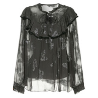 Needle & Thread Blusa 'butterfly' - Preto