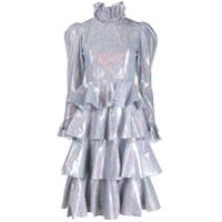 Batsheva Vestido Midi Furta-Cor Com Amarração - Cinza