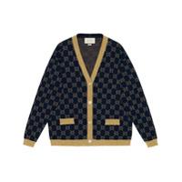 Gucci Cardigan Gg Com Brilho - Azul