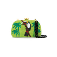 Serpui Clutch De Palha Bordada - Green