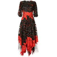 Costarellos Vestido Midi Floral Com Paetês - Preto