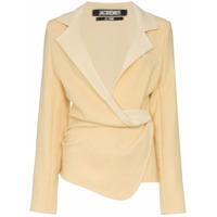 Jacquemus Blazer Com Cintura Drapeada - Amarelo