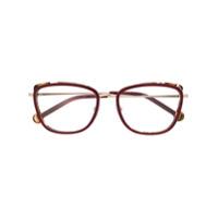 Ch Carolina Herrera Armação De Óculos Oversized - Vermelho