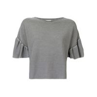 Ballsey Suéter Listrado Com Babado Nas Mangas - Preto