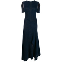 Chloé Vestido Longo De Tricô Com Recortes No Ombros - Azul