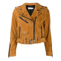 Coach Cropped Leather Jacket - Marrom