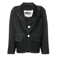 Mm6 Maison Margiela Blazer Com Contraste - Preto