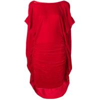 Paula Knorr Vestido Midi Franzido - Vermelho