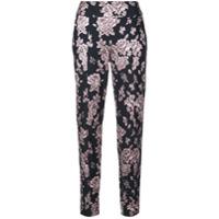 Michelle Mason Calça Com Bordado Floral - Preto