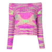 The Elder Statesman Off-The-Shoulder Cashmere Sweater - Rosa