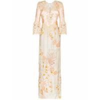 One Vintage Vestido De Festa Com Bordado Floral E Acabamento De Rend - Multicoloured