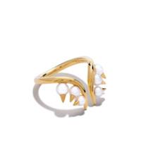 Tasaki Anel Danger Collection Line Akoya De Ouro 18K Com Pérolas - Dourado
