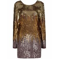Rixo Vestido Mini Aria Com Paetês - Dourado