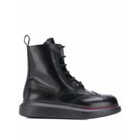 Alexander Mcqueen Ankle Boot Com Cadarço - Preto