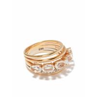 Brumani Anel De Ouro Rosé E Branco 18K Com Diamante E Quartzo - Rose Gold