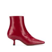 By Far Ankle Boot De Couro Com Salto 60Mm - Vermelho