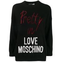 Love Moschino Suéter Com Logo E Aplicações De Strass - Preto