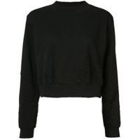 Cotton Citizen Distressed Cropped Sweater - Preto
