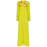 Carolina Herrera Vestido Longo De Seda Com Bordado Floral - Verde