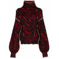 Unravel Suéter Com Estampa De Zebra E Efeito Puído - Preto