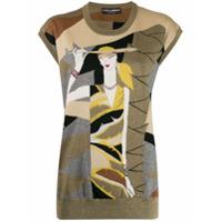 Dolce & Gabbana Colete De Tricô E Lurex Com Padronagem - Dourado