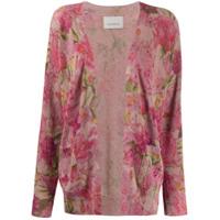 Laneus Cardigan Com Estampa Floral - Rosa