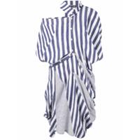 Dawei Vestido Com Listras E Patchwork - Azul
