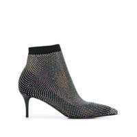 Le Silla Ankle Boot Com Tela E Aplicação De Cristais - Preto