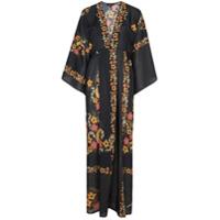 Celia Dragouni Vestido Longo Com Estampa Floral - Preto