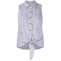 Michael Michael Kors Camisa Listrada Com Amarração Na Cintura - Azul