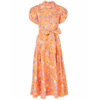Lhd Vestido Midi Floral - Laranja