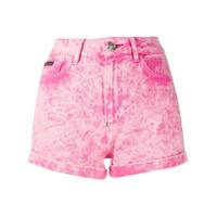 Philipp Plein Short Jeans Com Lavagem - Rosa