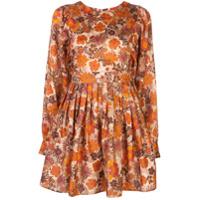 Lhd Vestido Arnette Com Estampa Floral - Laranja