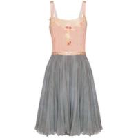 One Vintage Vestido Bicolor Com Aplicação Floral - Rosa