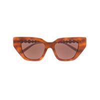 Gucci Eyewear Óculos De Sol Gatinho Com Aplicação De Cristais - Marrom
