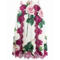 Dolce & Gabbana Saia Com Estampa De Rosas Tropicais - Branco