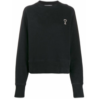 Ami Paris Moletom Com Logo Bordado - Preto
