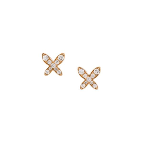 MIMI Par de brincos FreeVola de ouro rosé 18k com diamante - Dourado