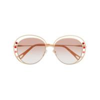 Chloé Óculos De Sol Redondo Ce169S - Dourado