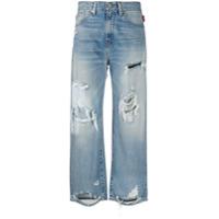 Denimist Calça Jeans Cropped Com Rasgado - Azul