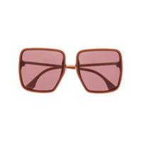 Fendi Eyewear Óculos De Sol Quadrado Oversized - Laranja
