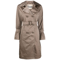 Herno Trench Coat Com Estampa De Logo - Marrom