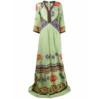 Etro Vestido Longo De Seda Com Estampa Floral - Verde