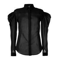 Saint Laurent Camisa Translúcida - Preto